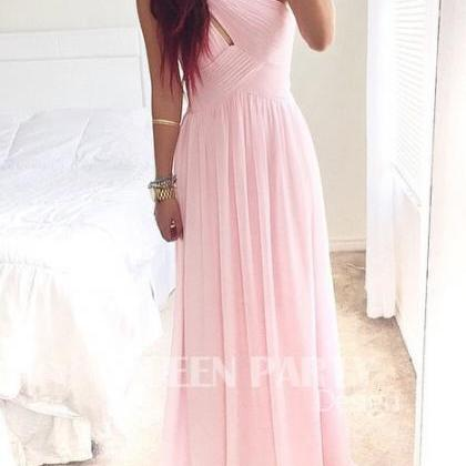 Pink Chiffon Long Prom Dress With P..
