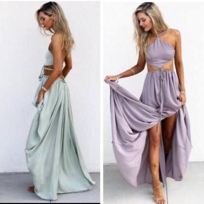 Halter Maxi Chiffon Long Party Dres..