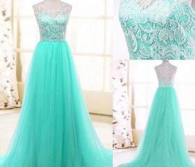 Mint Green Tulle A Line Formal Prom Gown With Lace Bodice