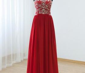 2015 Red Chiffon Beaded Strapless Floor Length Prom Dress