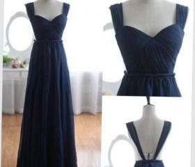 2015 Navy Blue Chiffon Cap Sleeves Prom Dress With Open Back