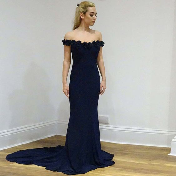 Fitted Formal Evening Gown Off The Shoulder Prom Dress Jersey Mermaid Gown With Sweep Train