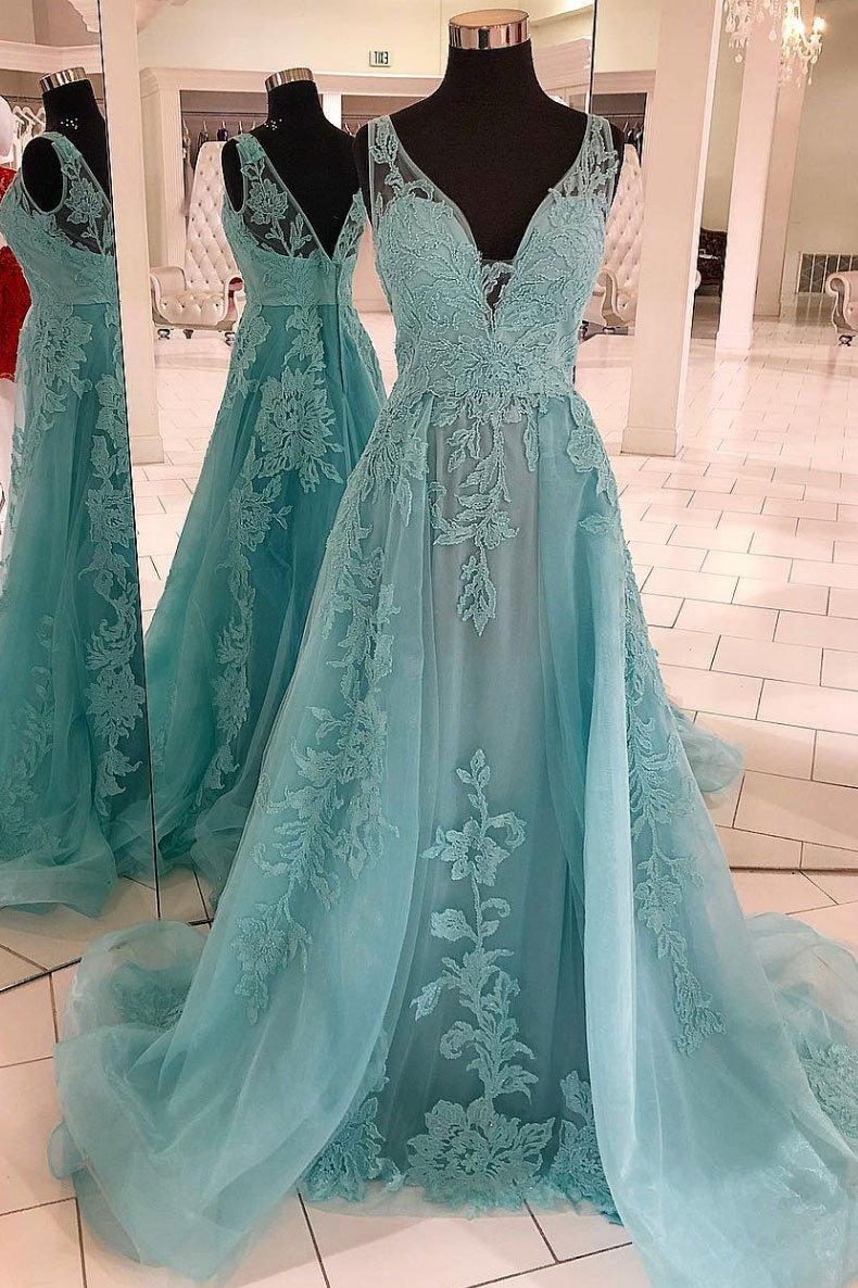 Sleeveless Mint V Neck Prom Dress Tulle A Line Wedding Party Dress With Lace Appliques
