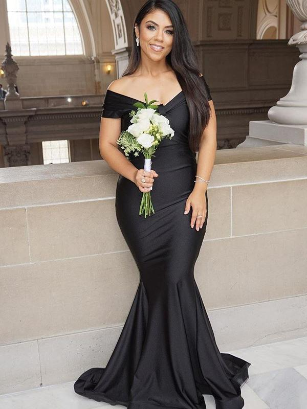 2019 Sexy Mermaid Formal Evening Gown Black Off The Shoulder Prom Dress With Sweep Train