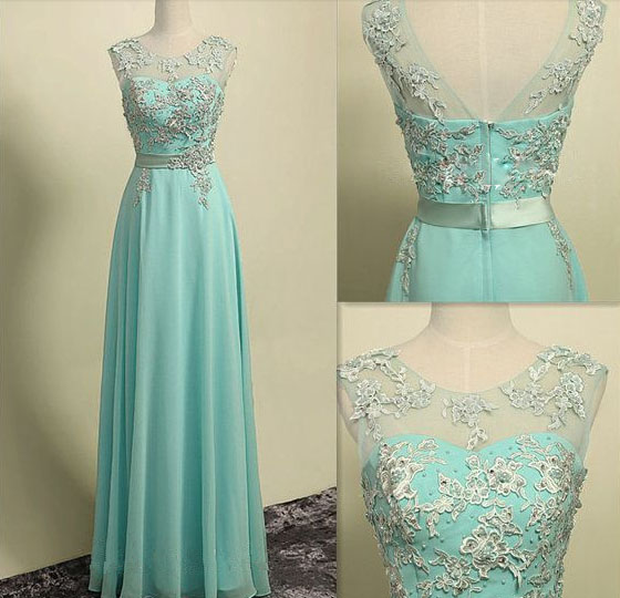 2015 Mint Green Chiffon Illusion Formal Prom Dress With Lace ...