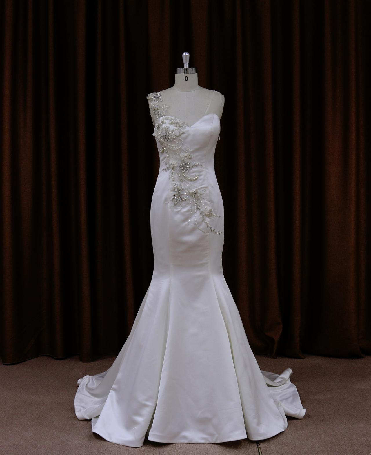 Satin Sweetheart Beaded Mermaid Wedding Dress With Sheer Back