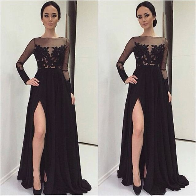Black Sheer Long Sleeves Formal Evening Gown With Slit Skirt on Luulla