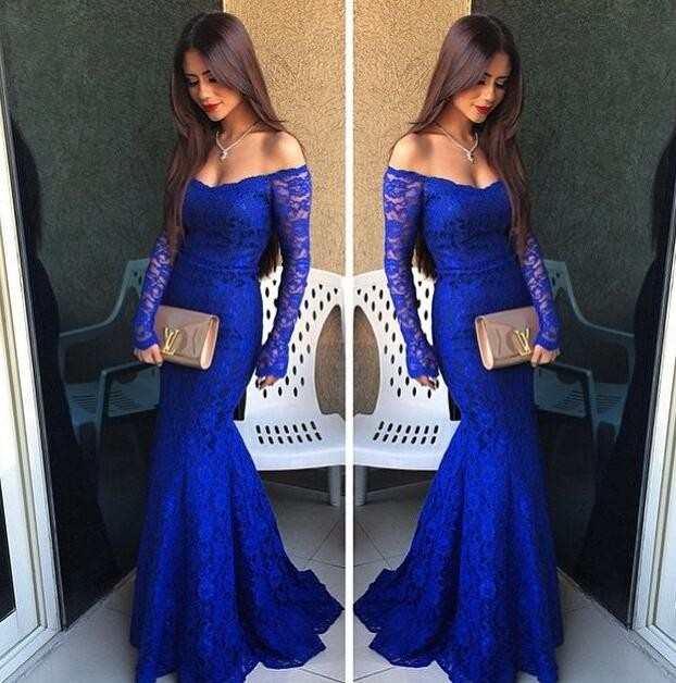 Blue Off The Shoulder Lace Long Sleeves Mermaid Gown With Sheer V Back