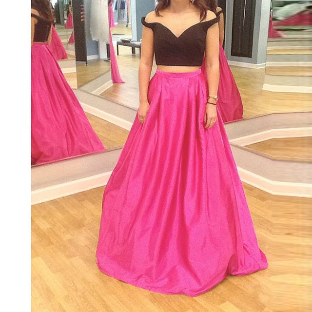 Black / Pink Satin Off The Shoulder Two Piece Prom Dress With A ...