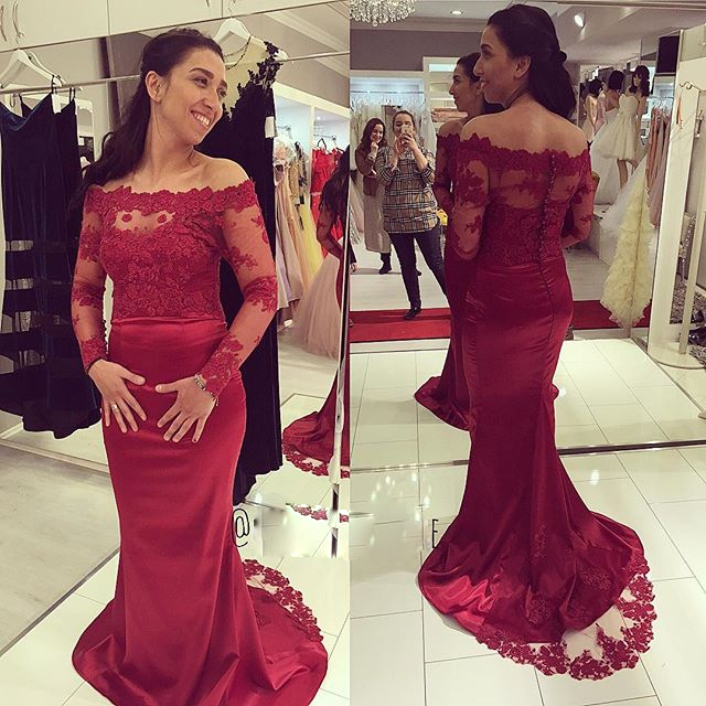 Burgundy Off The Shoulder Satin Mermaid Formal Gown With Sheer ...