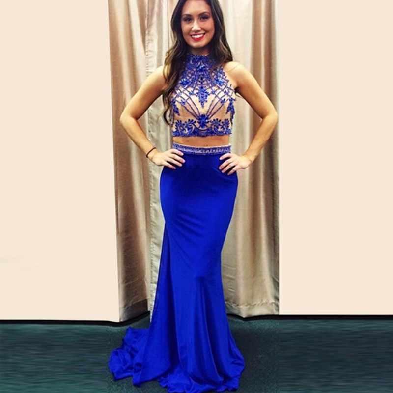 Light Royal Blue High Neck Keyhole Back Two Piece Mermaid Prom ...