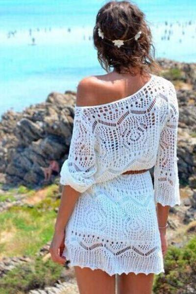 Fashion White Lace Short Sheath Dress, Long Sleeve Beach Dress