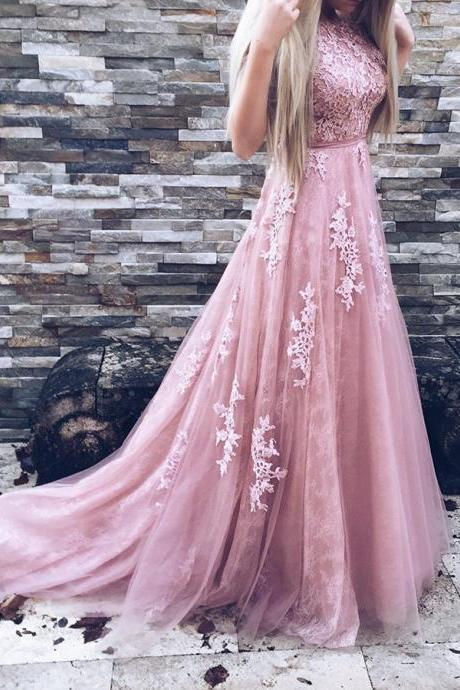 Rose Pink Tulle Princess Prom Dress, Backless A Line Formal Gown With Lace Appliques