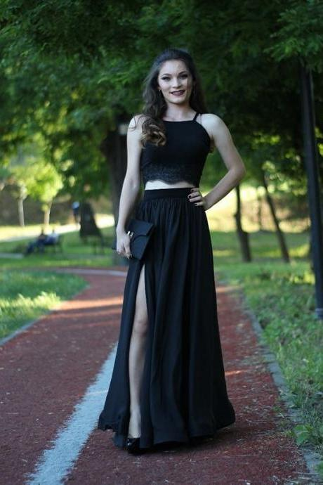 Black Two Piece Prom Dress, Long Party Dress, Formal Gown With Spaghetti Straps