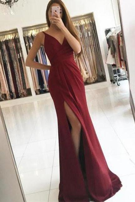 Sexy Burgundy V Neck Prom Dress, Ruched Bodice Formal Gown With Side Slit