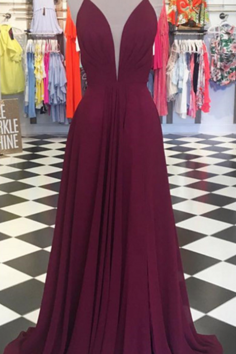 Burgundy Plunging V Neck Prom Dress, Cut Out Back Formal Gown With Spaghetti Straps