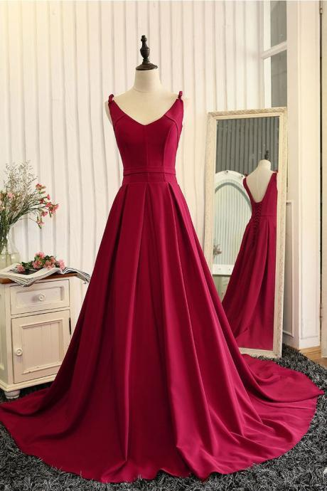 Wine Red V Neck A Line Princess Prom Dress, Open Back Pageant Gown With Sweep Train
