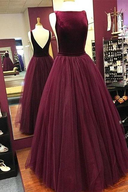 Burgundy Boat Neckline Tulle Ball Gown Prom Dress , Open Back Pageant Gown