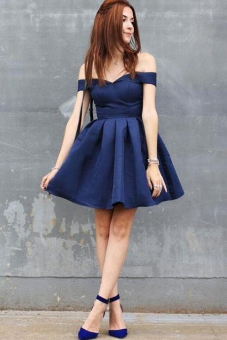 Navy Blue Off The Shoulder Satin Babydoll Homecoming Dress,Short Party Dress