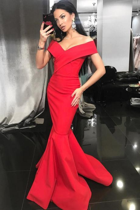 2018 New Arrival Mermaid Formal Evening Gown Red Off The Shoulder Long Prom Dress