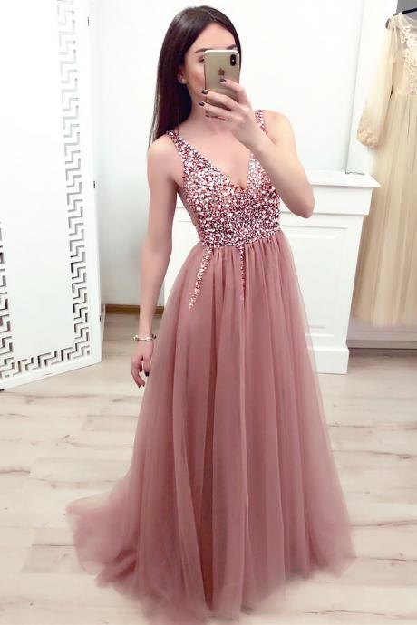 Dusty Pink Prom Dress Sleeveless V Neck A Line Tulle Formal Gown With Beaded Bodice