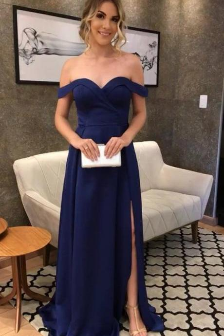 New Arrival Formal Evening Gown Navy Blue Off The Shoulder Long Prom Dress With Side Slit