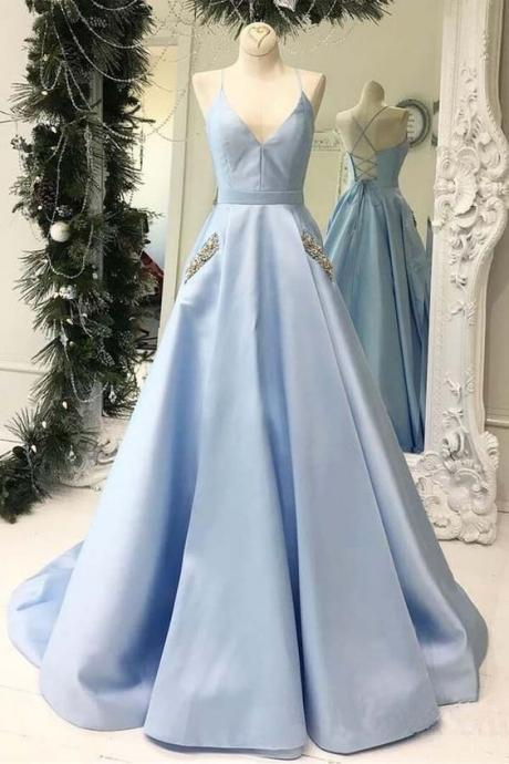 Gorgeous V Neck Prom Dress A Line Light Blue Open Back Formal Gown With Spaghetti Straps