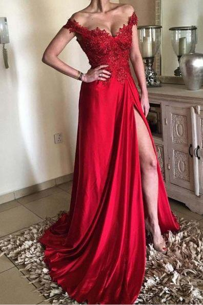 2019 Red Prom Dress Off The Shoulder Floor Length Formal Evening Gown With Side Slit