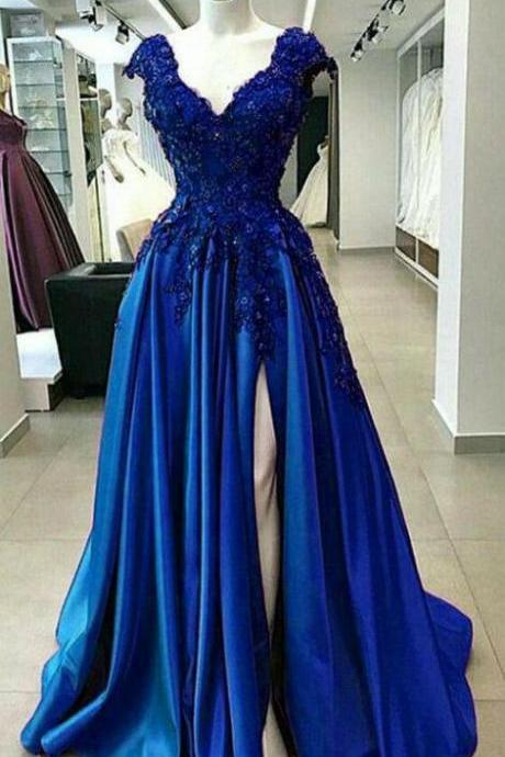 V Neck Wedding Party Dress Royal Blue Evening Prom Dress For Women Formal High Cap Sleeves