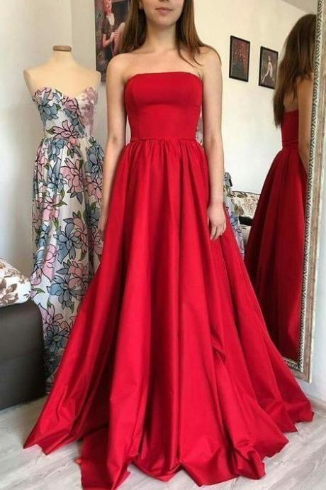 2019 Elegant Formal Evening Gown Strapless A Line Satin Prom Dress Floor Length Red