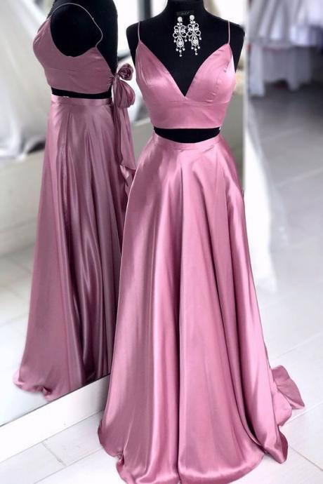 2019 V Neck Prom Dress Two Piece A Line Evening Dress For Girl Prom Spaghetti Straps