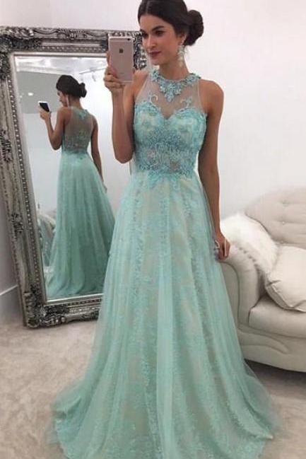 Halter Prom Dress Sleeveless Evening Dress For Women Formal Mint Green Lace Appliques