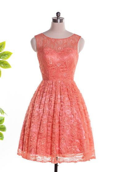 2015 Fashion Coral Lace Bateau Cocktail Party Dress