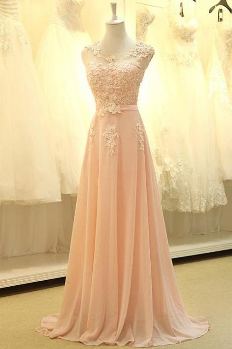 Pink Chiffon Floor Length Prom Dress With Lace Appliques
