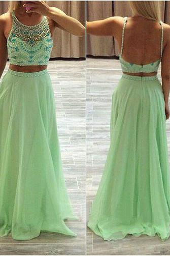 Mint Green Chiffon Two Piece Prom Dress With Beaded Bodice