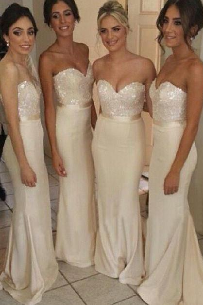 Satin Sweetheart Ivory Bridesmaid Gown With Sequined Bodice