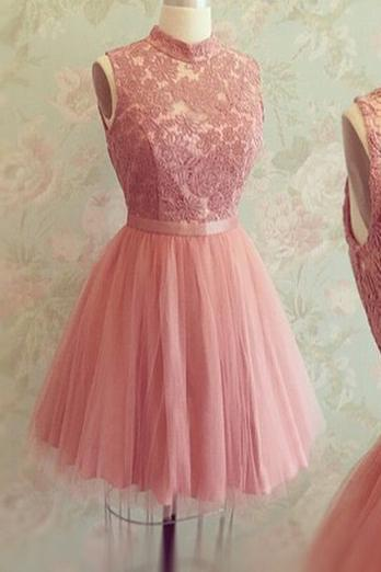 Rose Pink Tulle High Neck Cocktail Dress With Lace Appliques Bodice