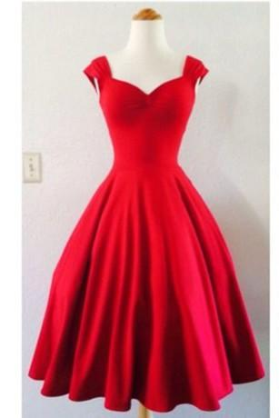Red Satin Sweetheart Knee Length Party Dress Wih Cap Sleeves