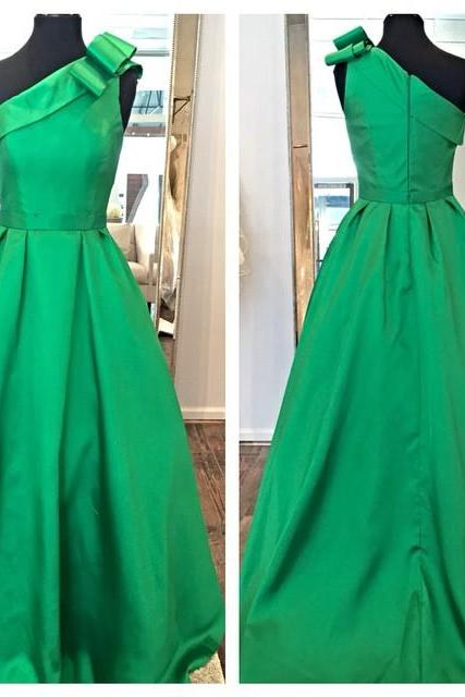 Green Satin One Shoulder A Line Prom Gown With Bow Detail