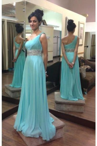 Ice Blue One Shoulder Chiffon Long Prom Dress With Beaded Waist