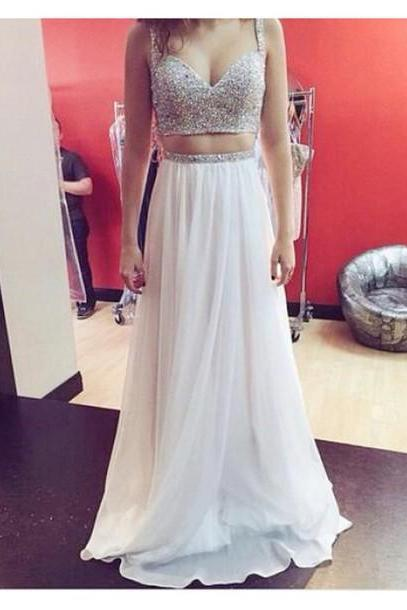 Ivory Two Piece Sweetheart Chiffon Prom Dress With Spaghetti Straps