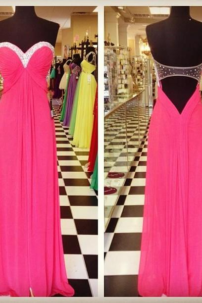 Hot Pink Sweetheart Draped Bodice Chiffon Prom Dress With Cut Out Back