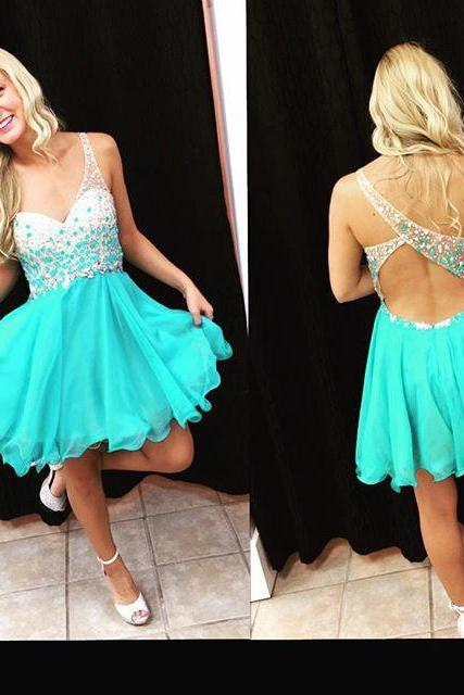 Mint One Shoulder Beaded Cocktail Party Dress With Cut Out Back