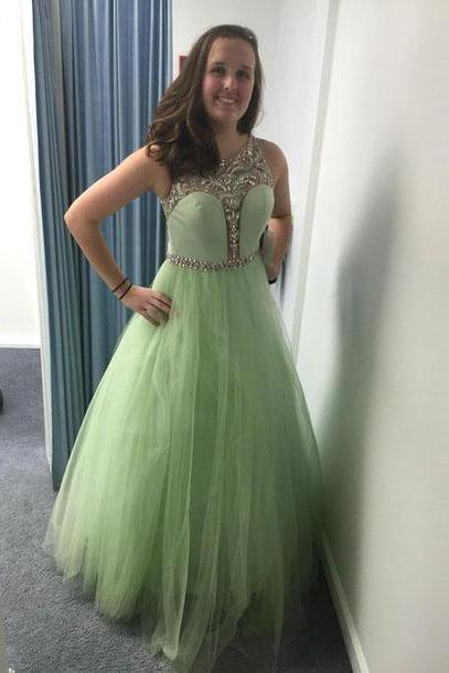 2016 Mint Green Sleeveless Tulle A Line Prom Dress With Beading