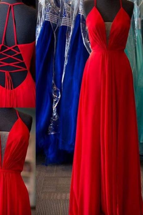 2016 Red Plunging V Neck Chiffon Prom Dress With Cut Out Back