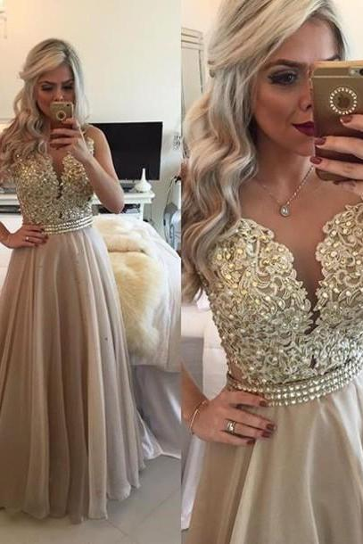 Topaz Plunging V Neck Sheer Back Prom Dress With Beaded Lace Appliques Bodice