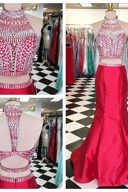 Red High Neck Two Piece Taffeta Mermaid Prom Gown With Crystals Crop Top