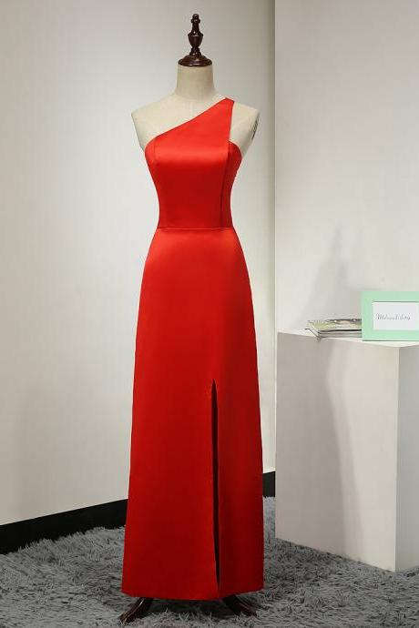 Red One Shoulder Satin Floor Length Slit Prom Dress , Evening Gown
