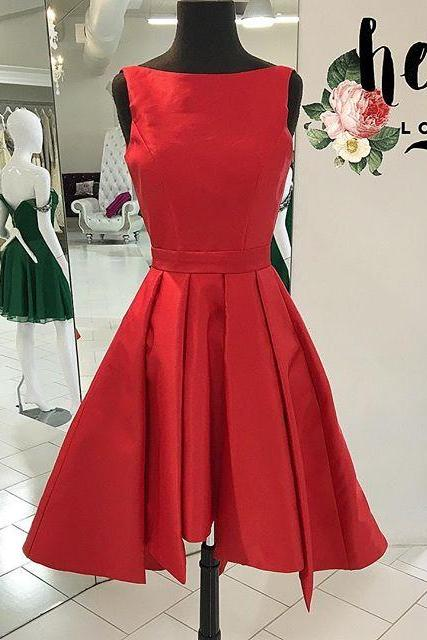 Red Boat Neckline Sleeveless Taffeta Cocktail Dress , Party Dress