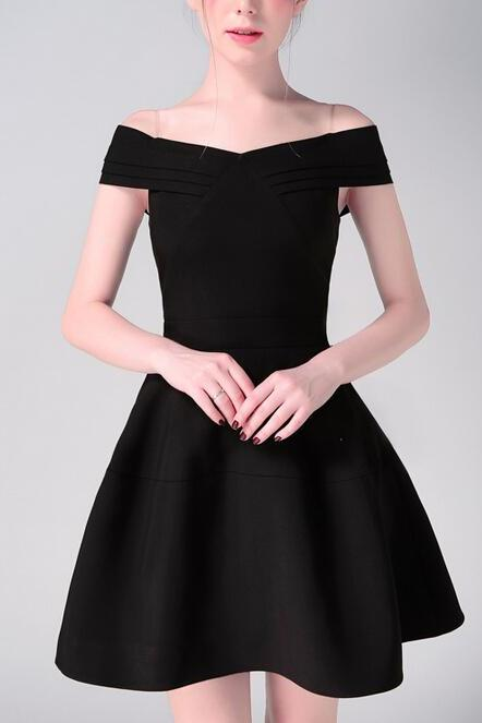 Black Satin Off-the-Shoulder Fit and Flare Dress